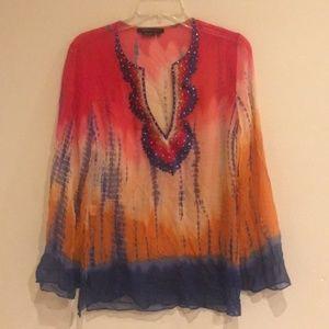 BCBG MA Tye-Dye Sheer Embroidered Silk Top Tunic